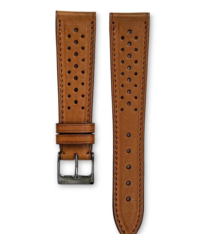 Smooth Barenia Racing Tan leather watch strap tone on tone stitching - LUGS brand