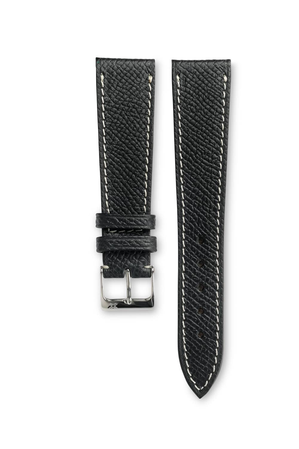 Grained classic deep black leather watch strap - cream stitching - LUGS brand