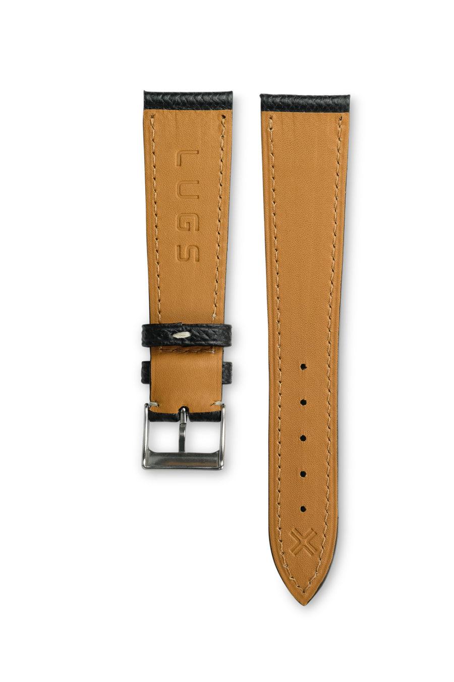 Grained Classic Barenia deep black leather watch strap - cream stitching - LUGS brand