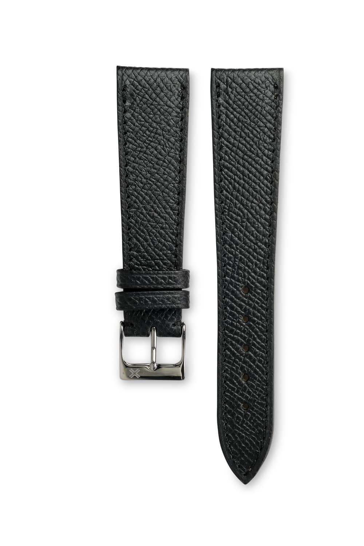Grained Classic Barenia deep black leather watch strap - tone on tone stitching - LUGS brand