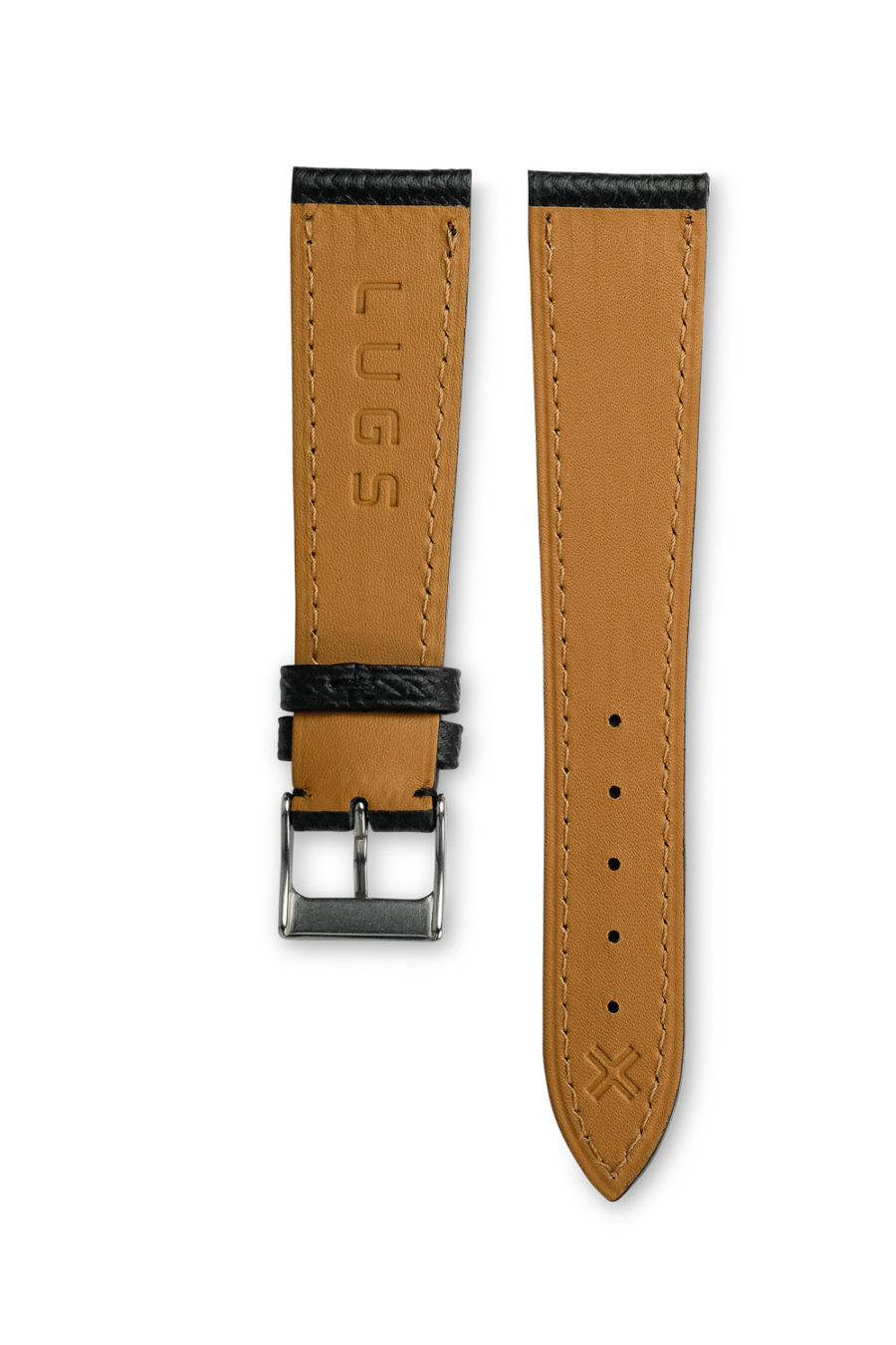 Grained Classic Barenia deep black leather watch strap - tone on tone stitching - LUGS brand