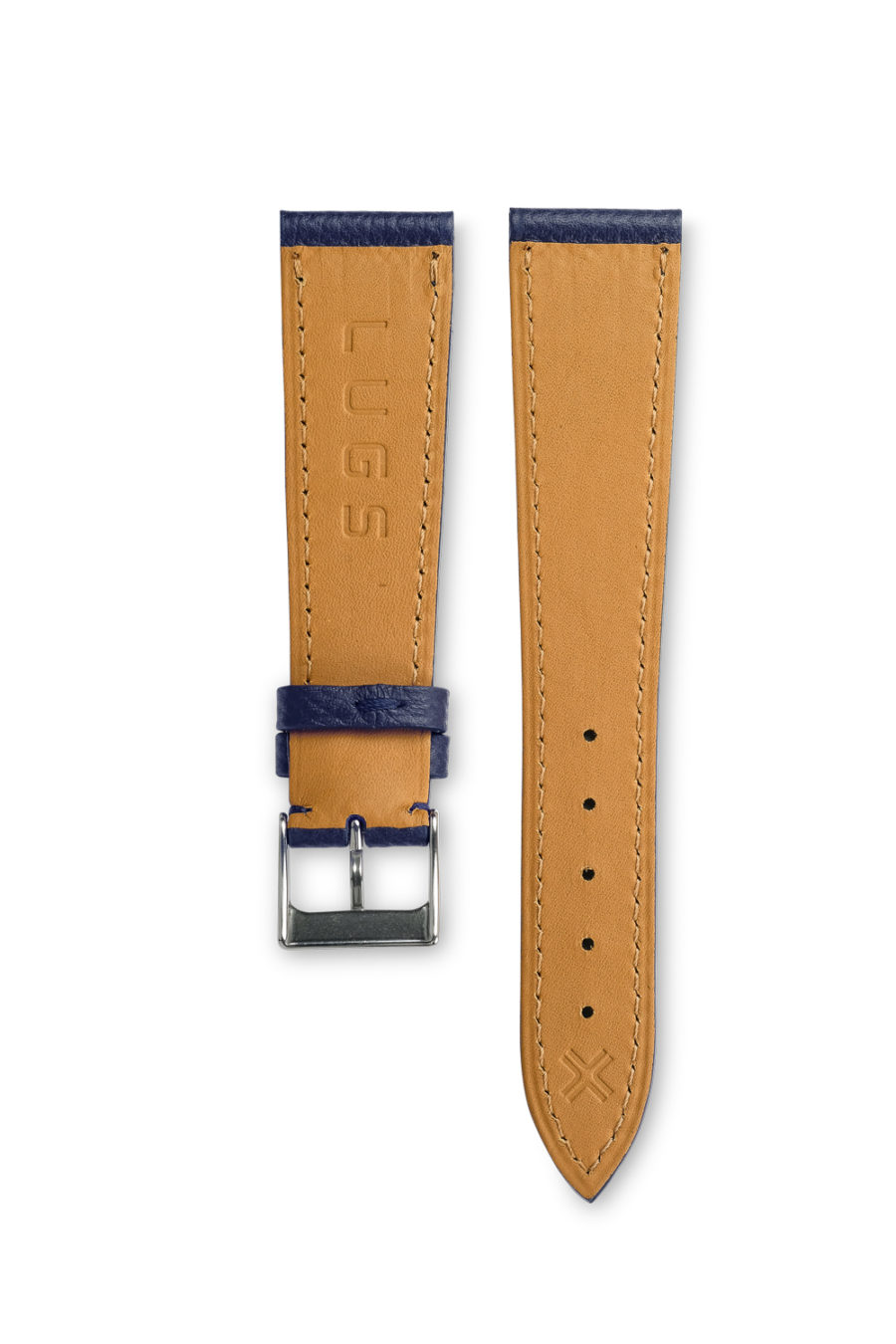 Grained Classic Navy Blue leather watch strap - tone on tone stitching - LUGS brand
