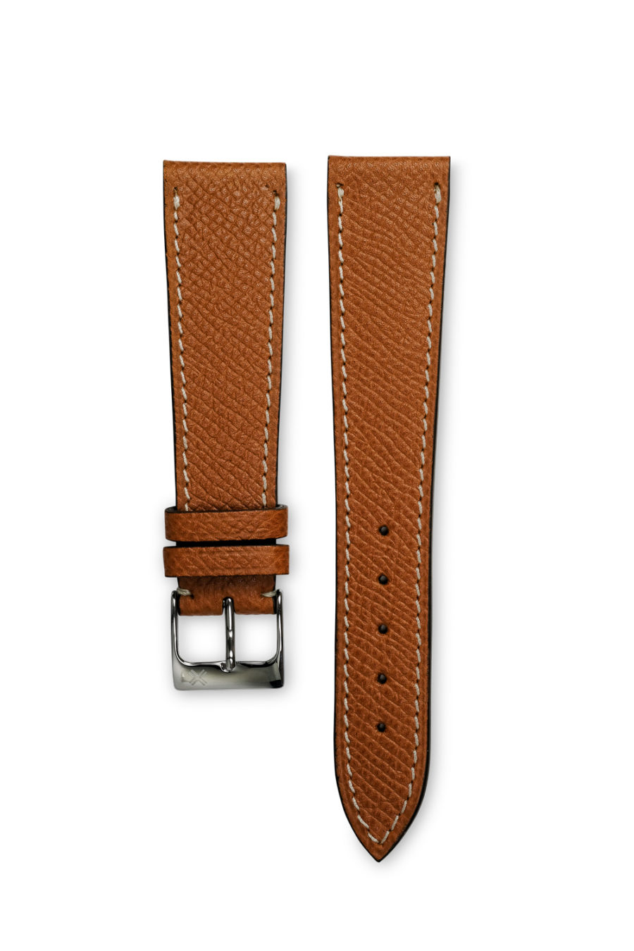 Grained light brown tan leather watch strap - cream stitching - LUGS brand