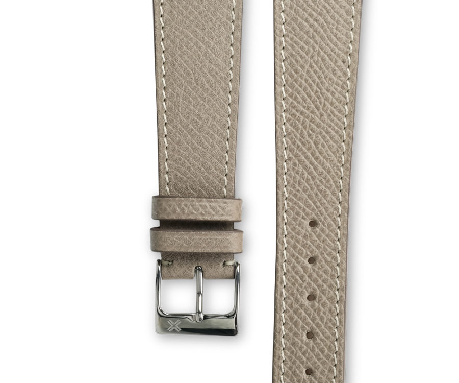 Smooth grained taupe grey leather watch strap - cream stitching - LUGS brand