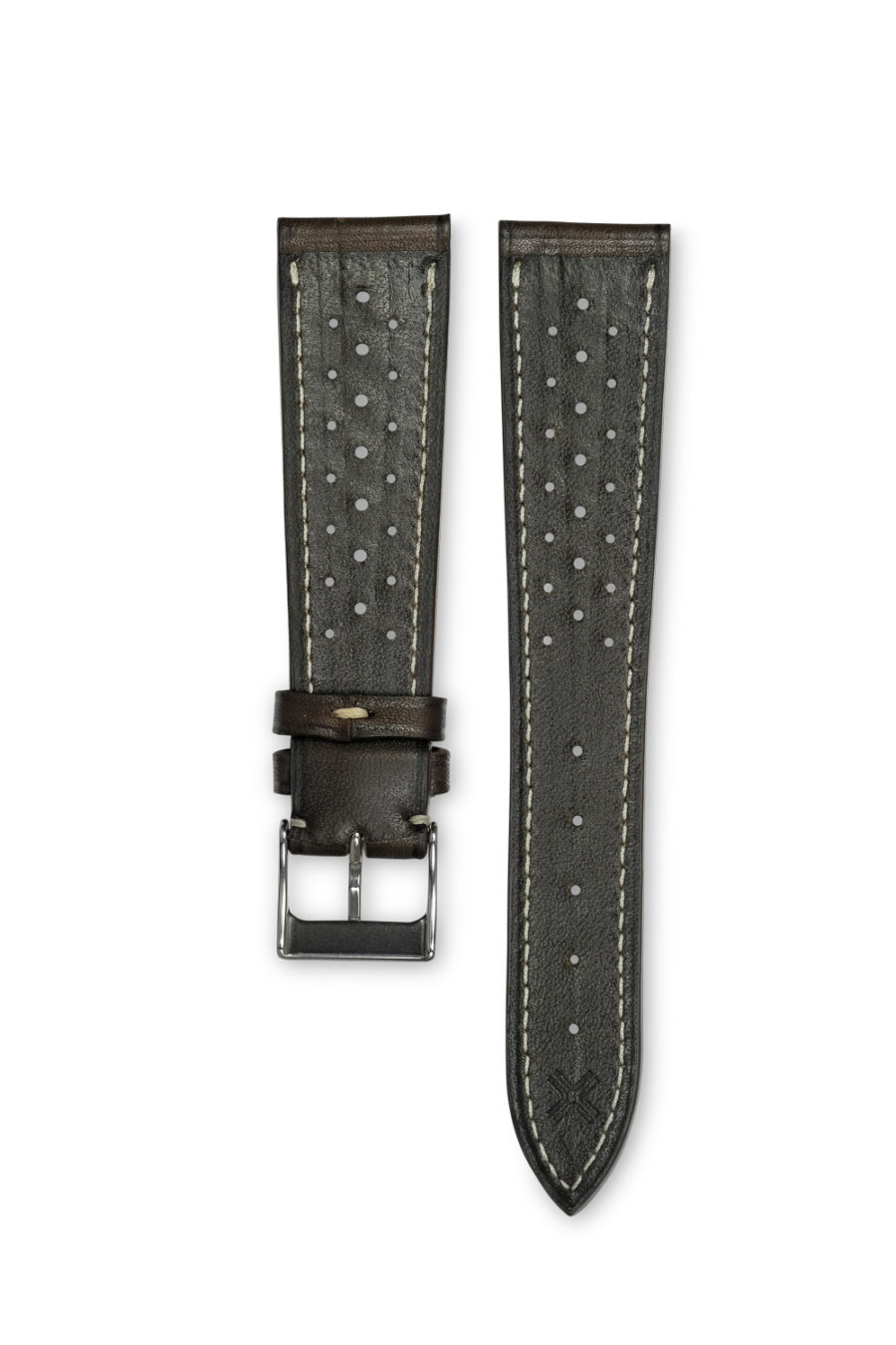 Smooth Racing Barenia chocolate brown leather watch strap - cream stitching - LUGS brand