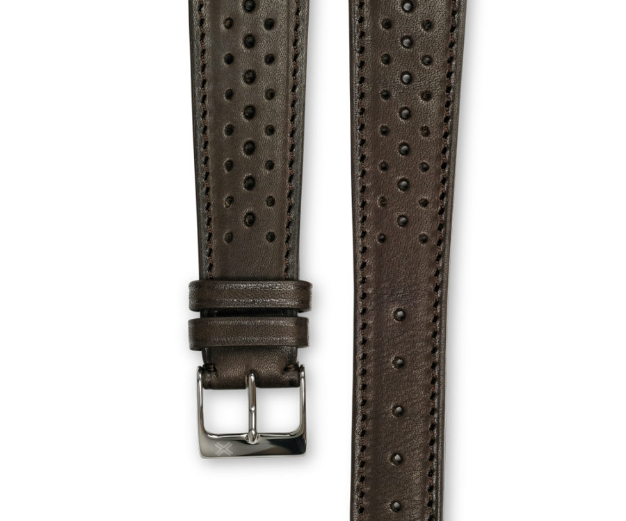 Smooth Racing chocolate brown leather watch strap - tone on tone stitching - LUGS brand