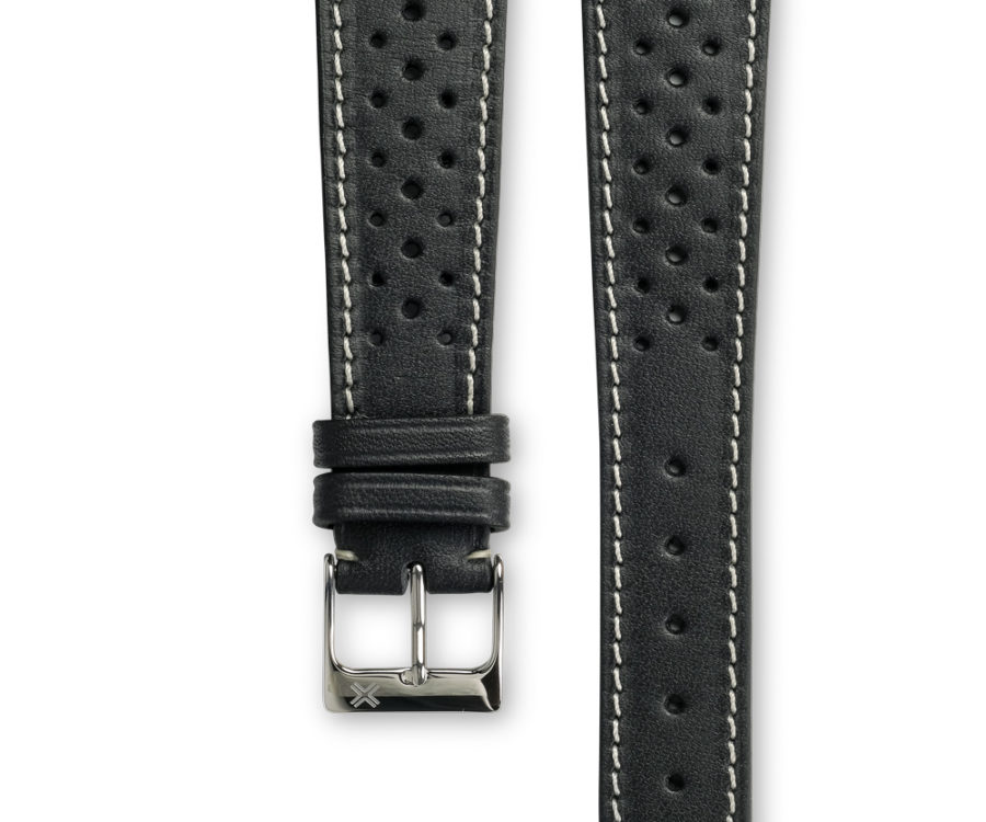 Smooth Racing Barenia deep black leather watch strap - cream stitching - LUGS brand