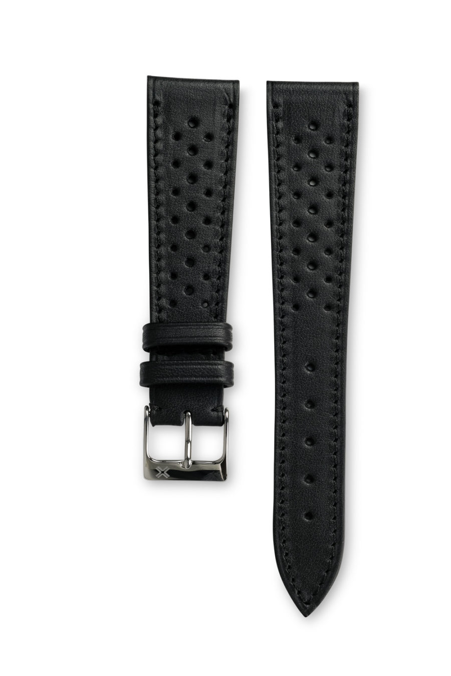 Smooth Racing Barenia deep black leather watch strap - tone on tone stitching - LUGS brand