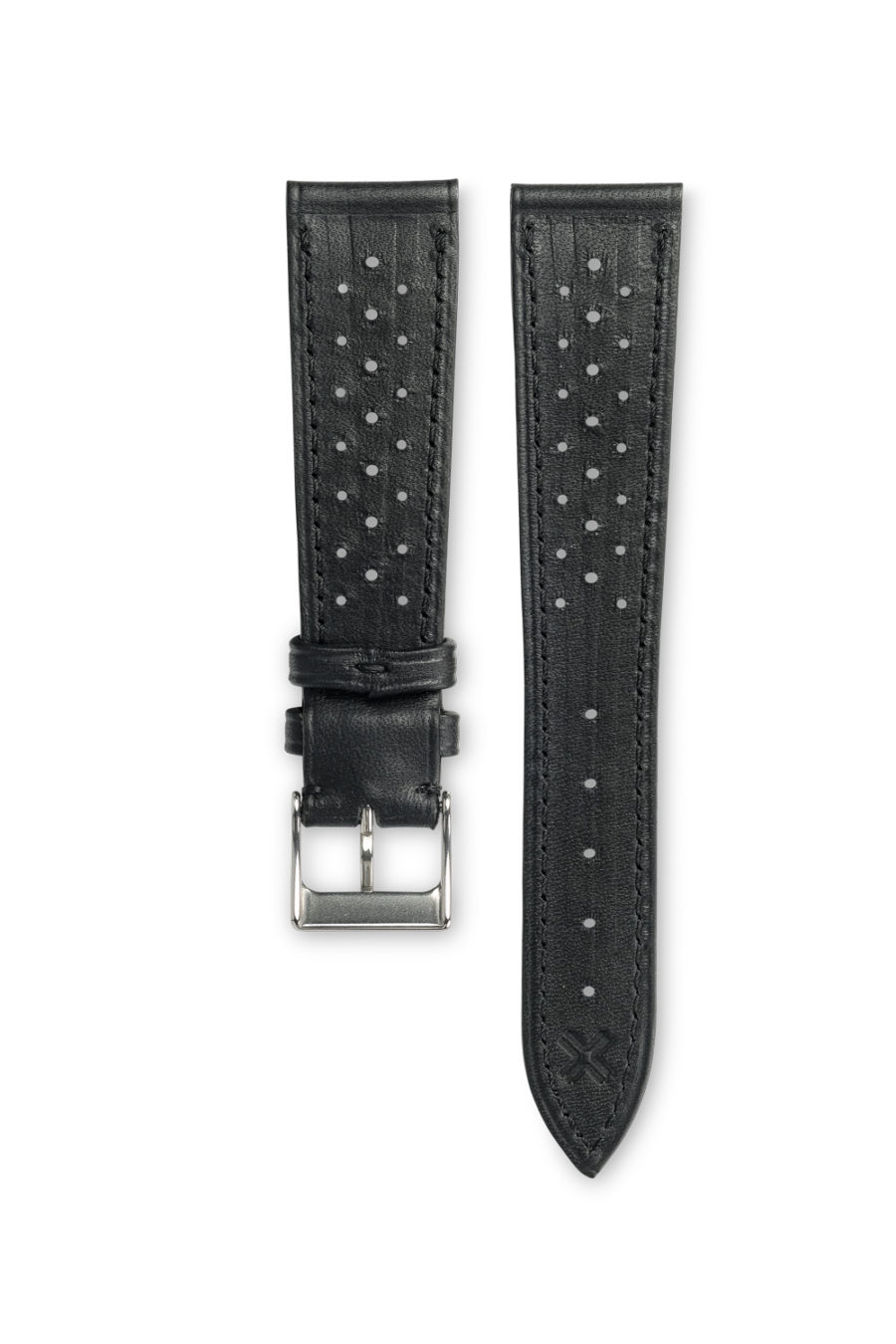 Smooth Racing Deep Black leather watch strap - tone on tone stitching - LUGS brand