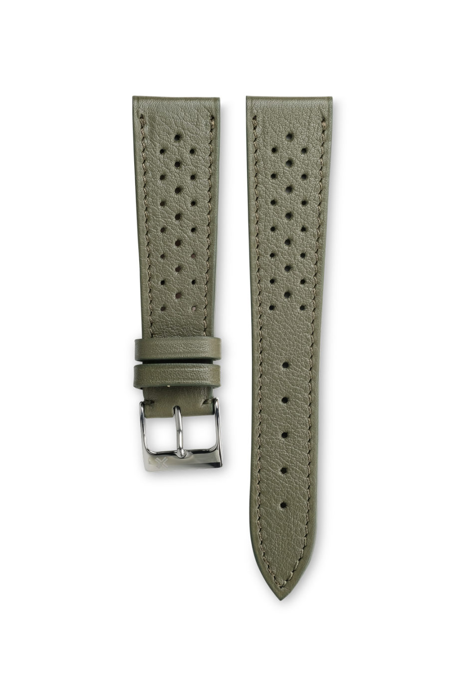Smooth Racing khaki green leather watch strap - tone on tone stitching - LUGS brand
