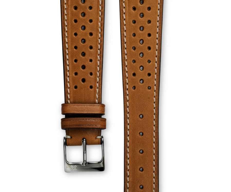 Smooth Racing light brown tan leather watch strap - cream stitching - LUGS brand