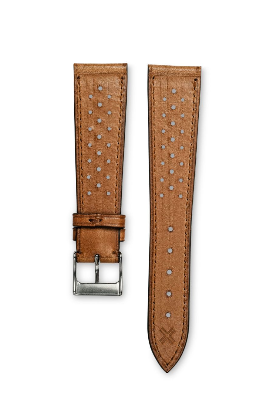 Smooth Racing light brown Tan leather watch strap - tone on tone stitching - LUGS brand