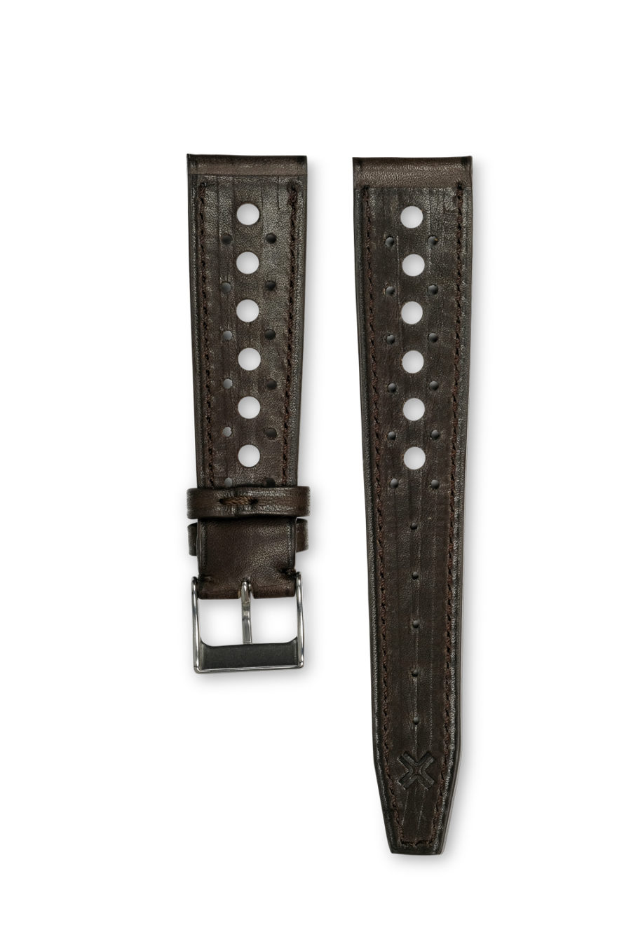 Smooth Rally chocolate brown leather watch strap - tone on tone stitching - LUGS brand