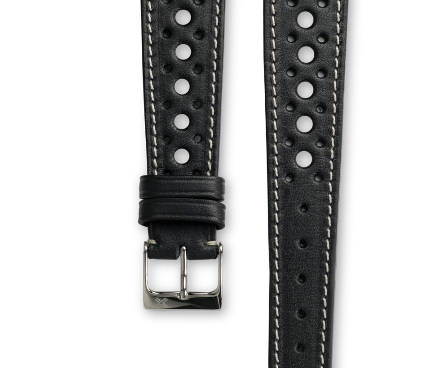 Smooth Rally Deep Black leather watch strap - cream stitching - LUGS brand