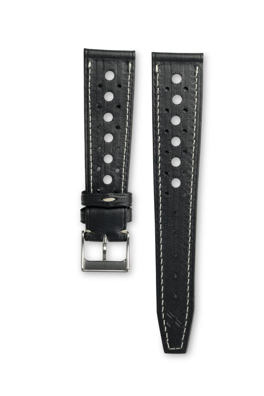 Smooth Rally Barenia deep black leather watch strap - cream stitching - LUGS brand