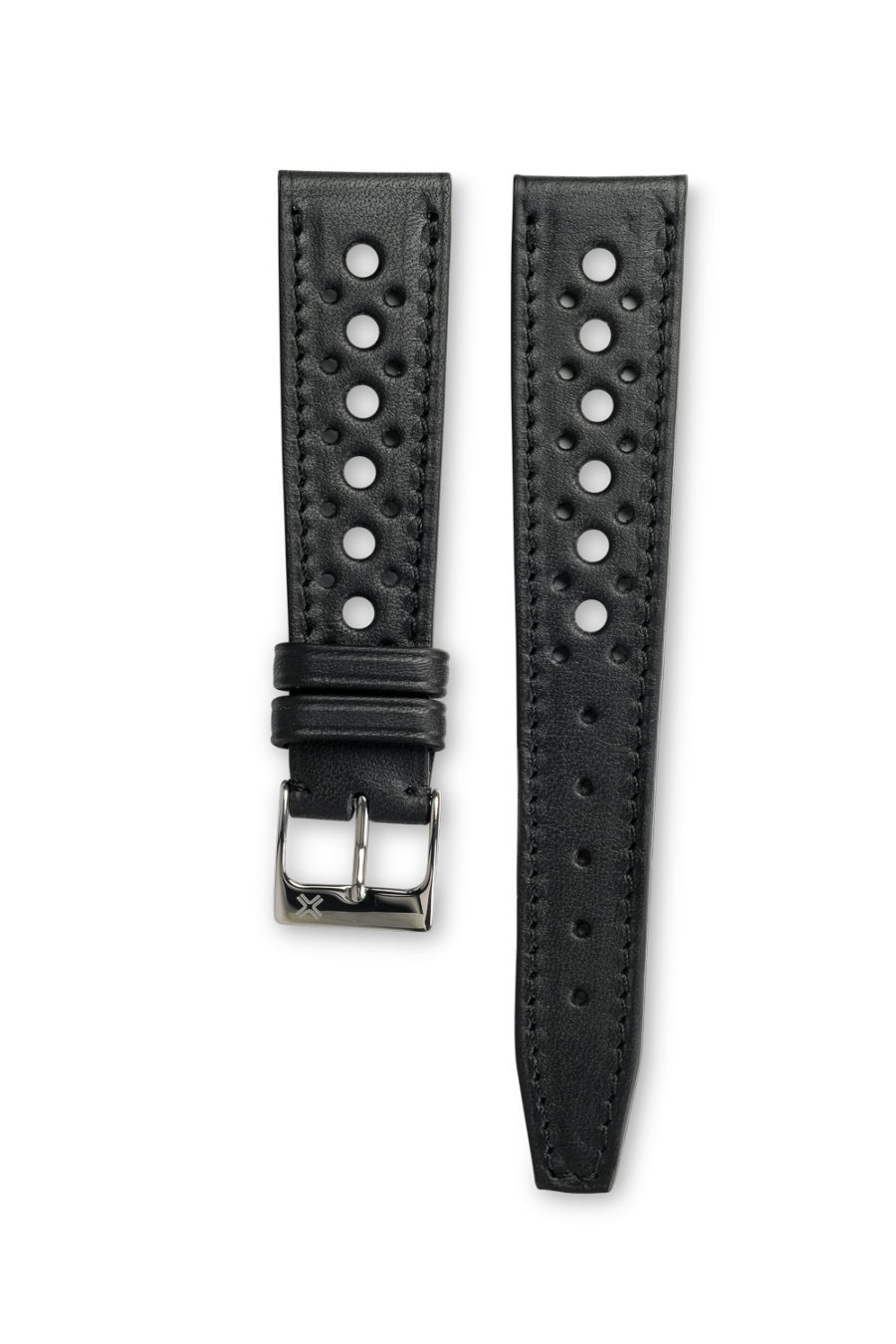 Smooth Rally Barenia deep black leather watch strap - tone on tone stitching - LUGS brand