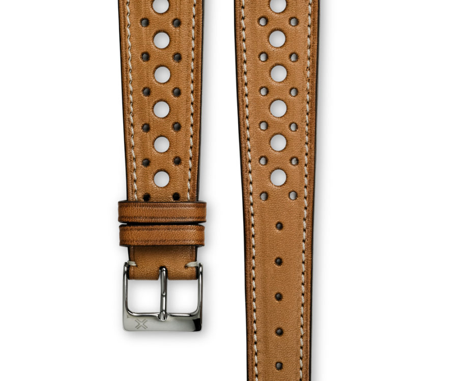 Smooth Rally Barenia light brown tan leather watch strap - cream stitching - LUGS brand