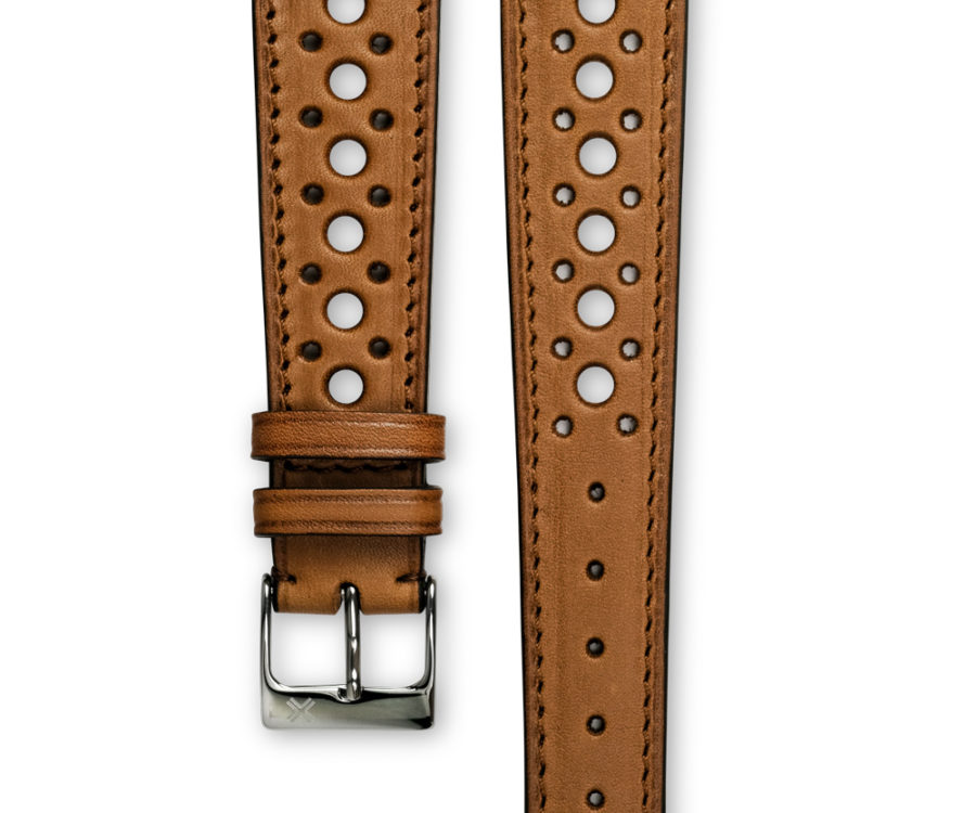 Smooth Rally light brown tan leather watch strap - tone on tone stitching - LUGS brand