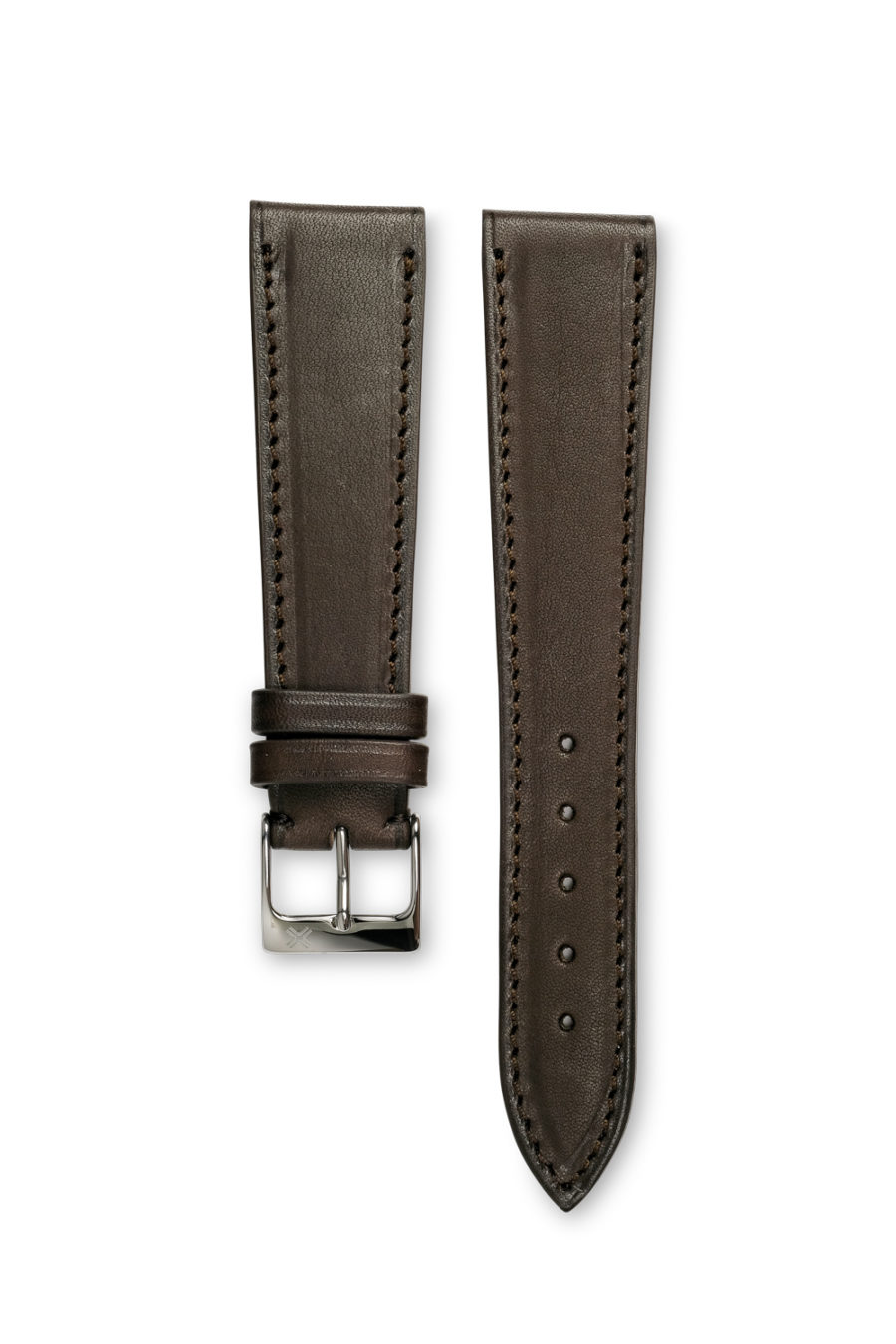 Smooth Classic Barenia chocolate brown leather watch strap - tone on tone stitching - LUGS brand