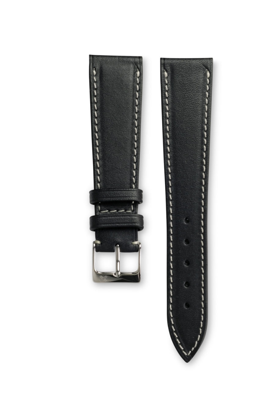 Smooth Classic Barenia deep black leather watch strap - cream stitching - LUGS brand