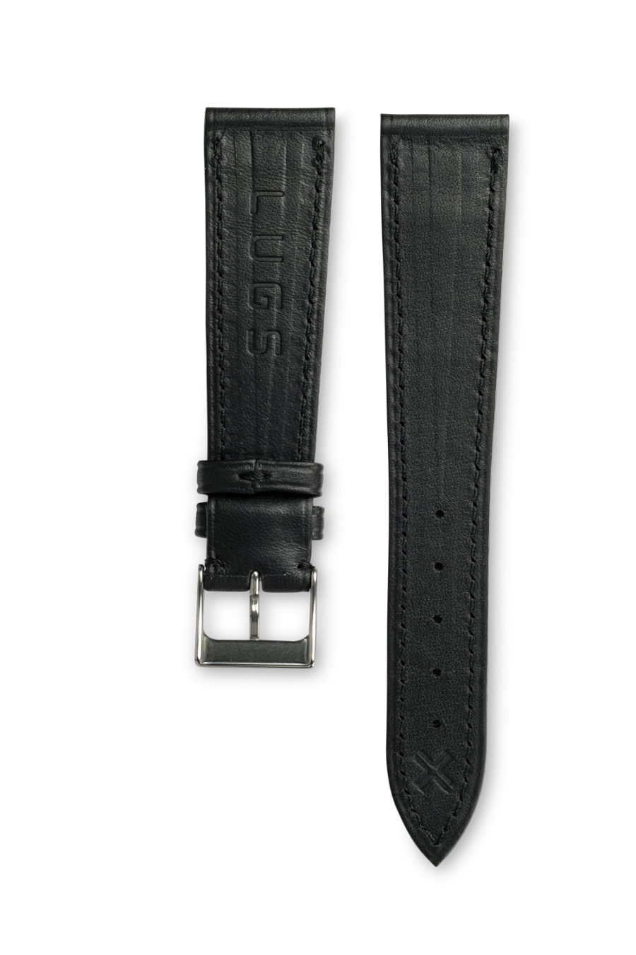 Smooth Classic Barenia deep black leather watch strap - tone on tone stitching - LUGS brand