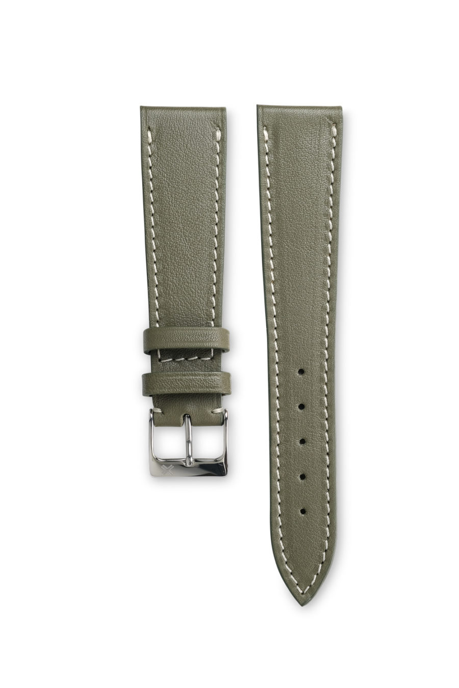 Smooth classic khaki green leather watch strap - cream stitching - LUGS brand