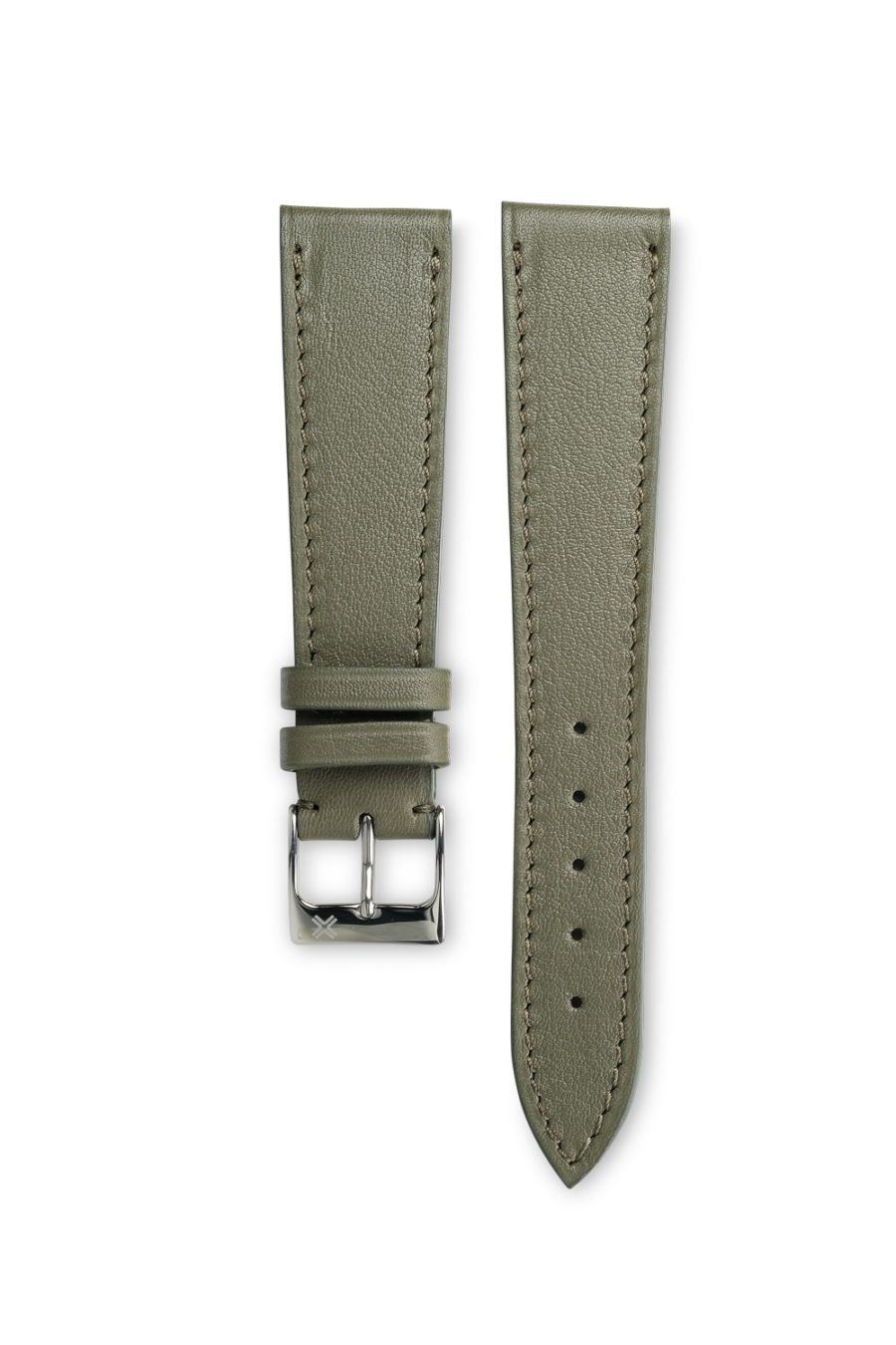 Smooth classic khaki green leather watch strap - tone on tone stitching - LUGS brand