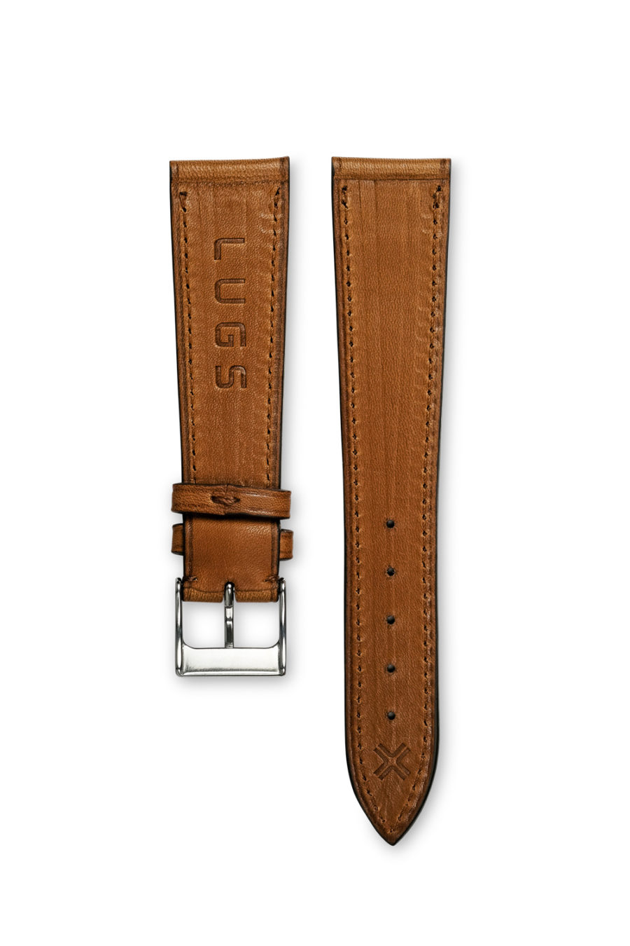 Smooth Classic Barenia light brown tan leather watch strap - tone on tone stitching - LUGS brand