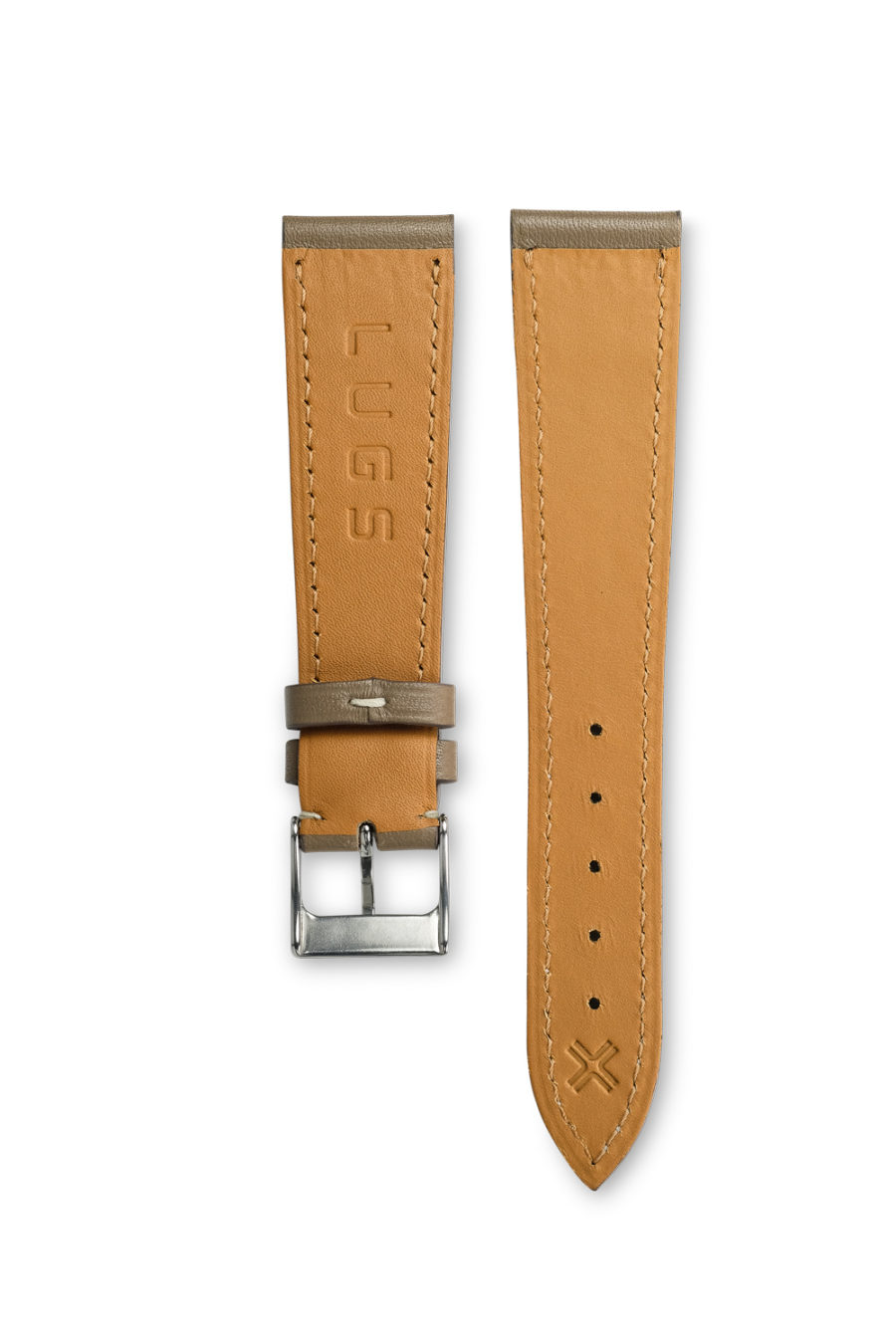 Smooth Classic Taupe Grey leather watch strap - cream stitching - LUGS brand
