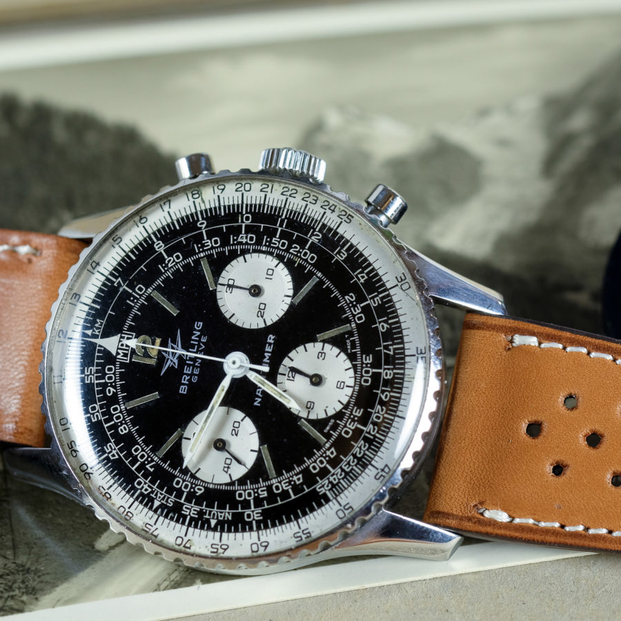Vintage Breitling Navitimer on a leather racing tan watch straps from LUGS.shop