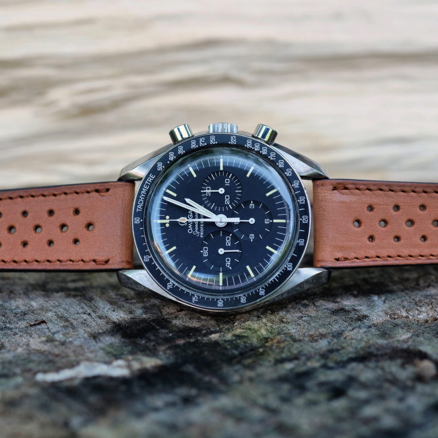 Omega vintage speedmaster on a smooth racing tan LUGS watch strap