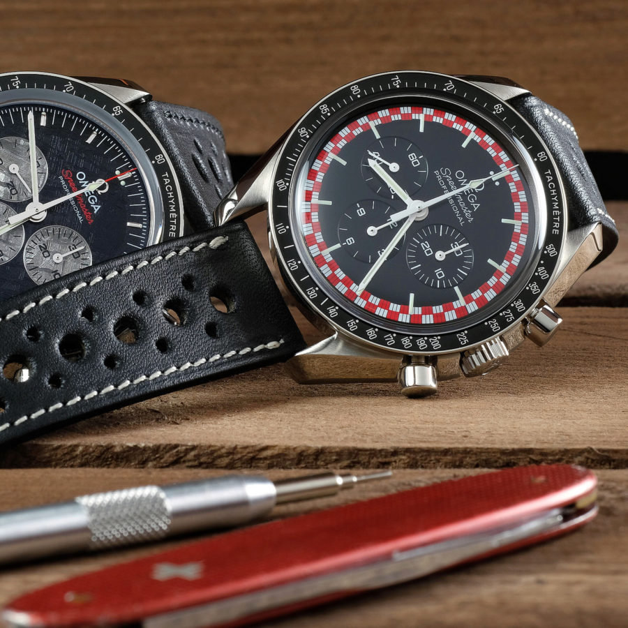 Vintage omega speedmaster tintin with a LUGS leather watch strap Rally deep black with contrasting cream stitching