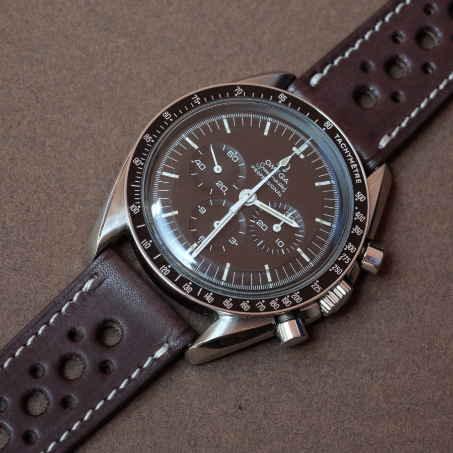 Omega speedmaster moonwatch submariner on a smooth Rally Barenia chocolate brown LUGS watch strap