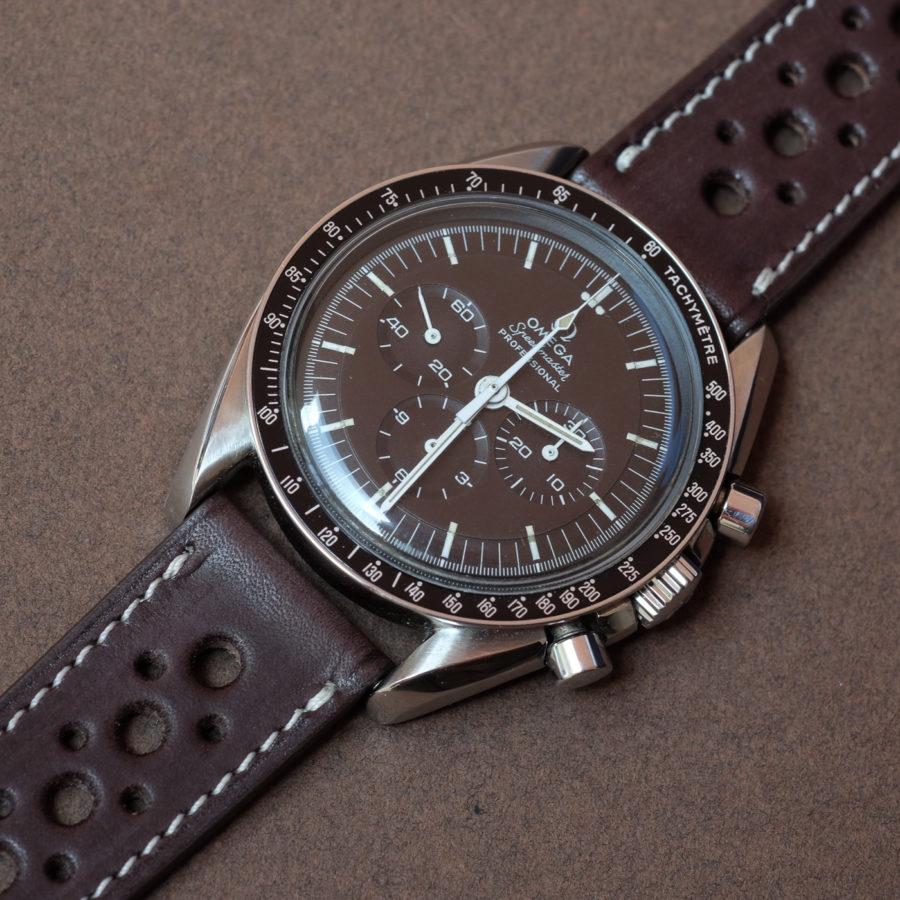 Omega speedmaster moonwatch submariner on a smooth Rally Barenia chocolate brown LUGS watch strap