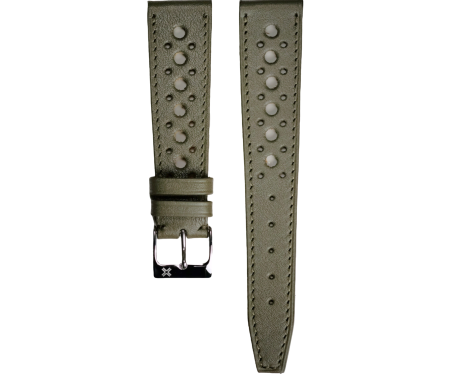 Omega Speedmaster Speedy tuesday rally khaki green leather watch strap