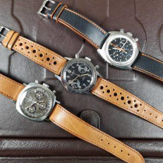 Iconic vintage chronos on LUGS strap, perfect combos.  #lugs_shop #strap #watchstrap #watchporn #watchfan #watchfam #watchnerd #instadaily #watchaddicts #watchofinstagram #watchlovers #watchband #wristshot #montre #orologio #uhr #reloj #braceletcuir#montrevintage#heuer#heuercamaro#heuerwatch#heuervintage